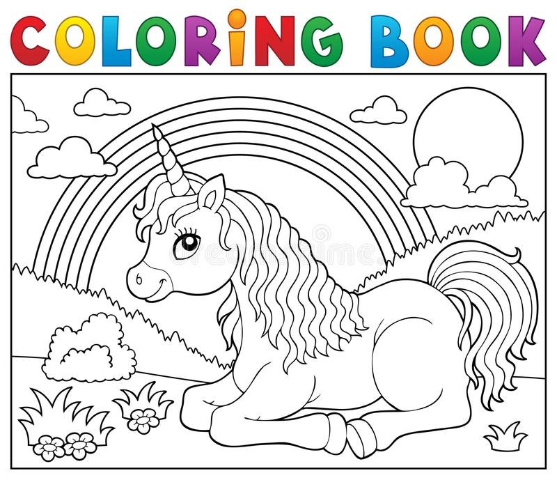 Coloring book lying unicorn theme 2 royalty free illustration