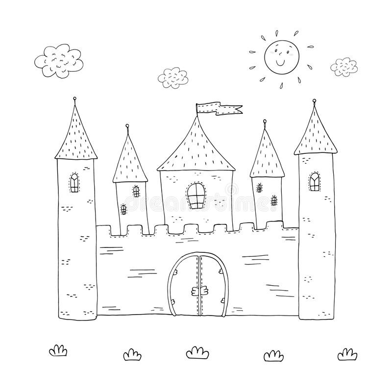 Coloring Book Magic Castle Design For Kids Stock Vector