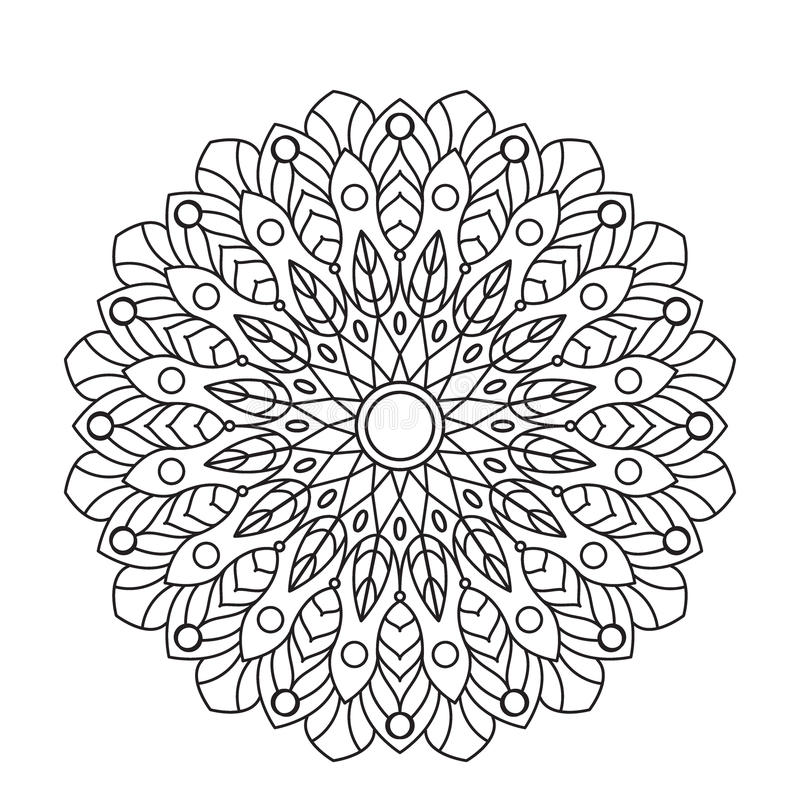 Download coloring book mandala circle lace ornament round ornamental pattern black and white