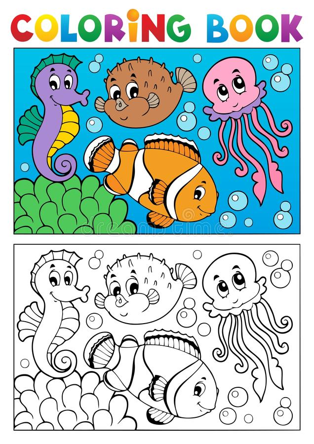 Download Coloring Book With Marine Animals 4 Stock Vector - Image: 28198818