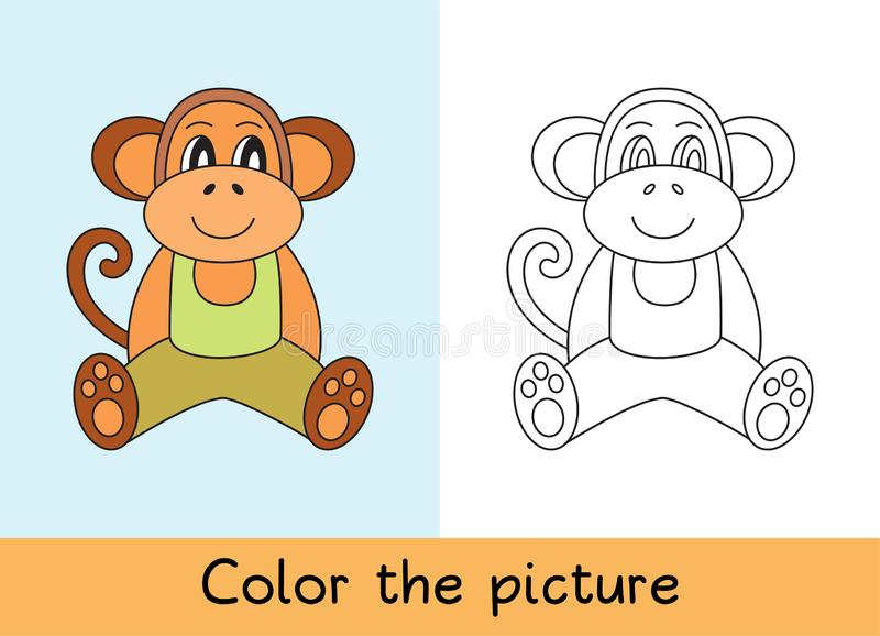 Coloring book. Monkey, macaque. Cartoon animall. Kids game. Color picture. Learning by playing. Task for children.  royalty free illustration