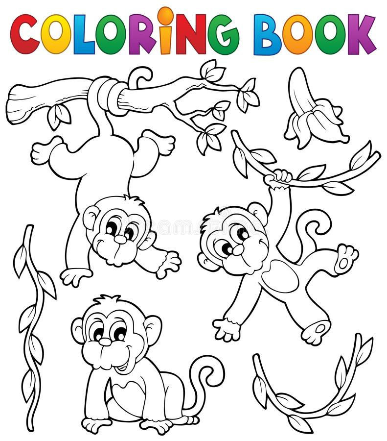 Coloring book monkey theme 1 stock illustration