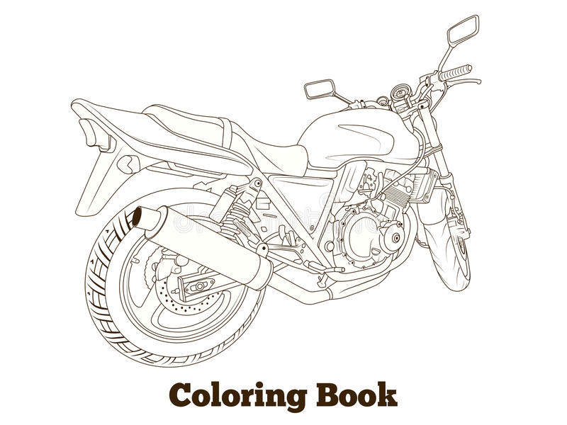Coloring book motorbike vector illustration stock illustration