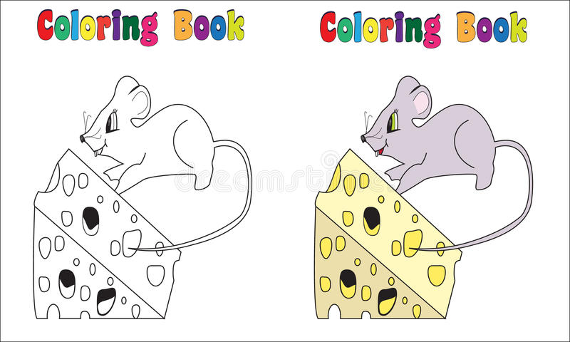 Coloring Book Mouse and cheese. Coloring and colored version included stock illustration