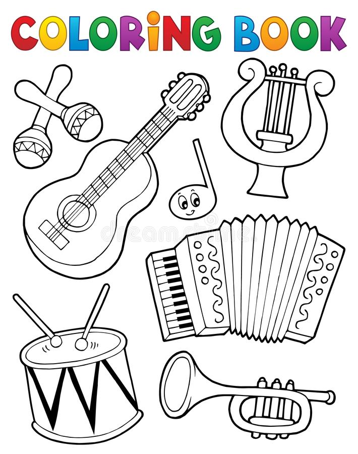 Coloring book music instruments 1 stock illustration
