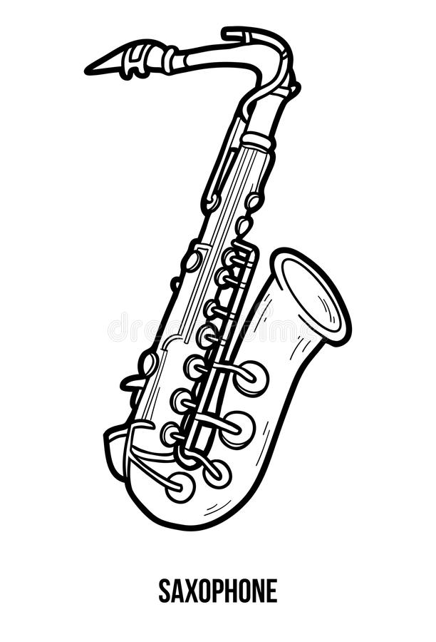 Coloring book musical instruments saxophone stock - Dessin saxophone ...