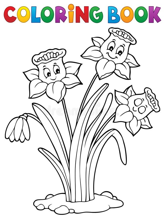 Free Coloring Book Narcissus Flower Image 1 Stock Photo - 178649160