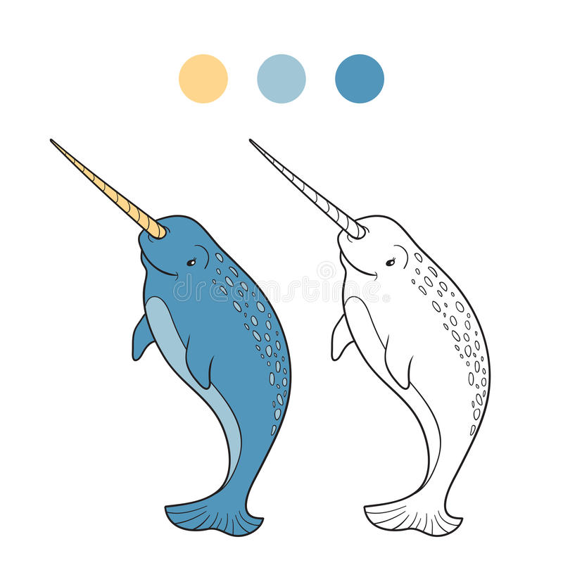 Coloring book (narwhal). Coloring book for children (narwhal stock illustration