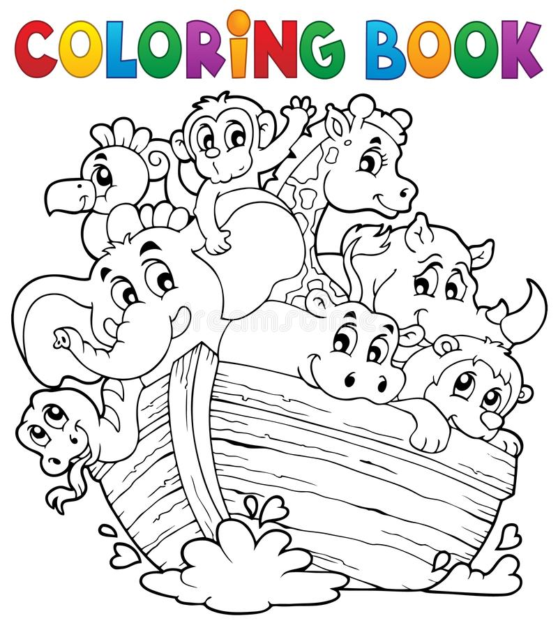Coloring book Noahs ark theme 1 stock illustration