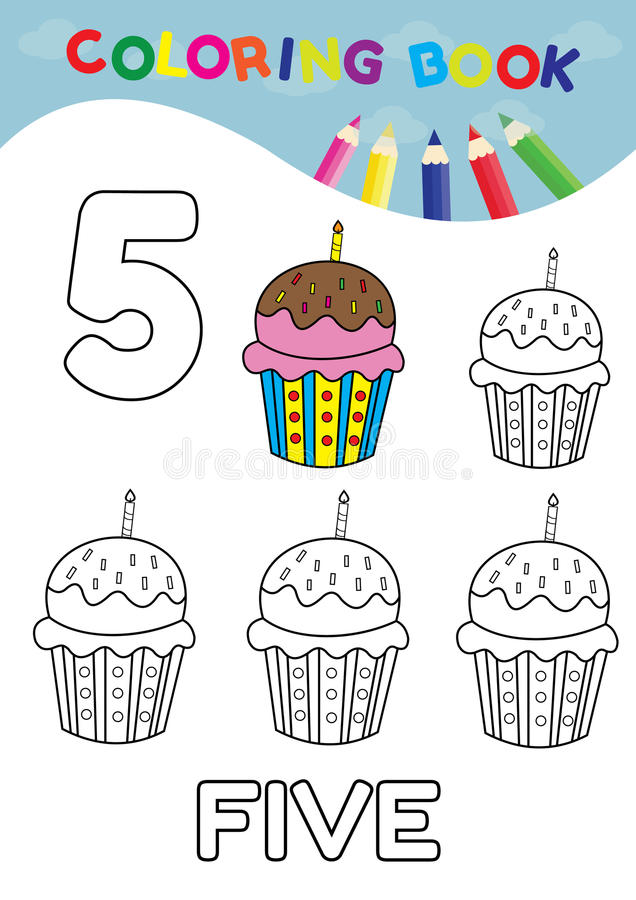 Coloring book number five with 5 cupcakes vector for kids and ed stock illustration