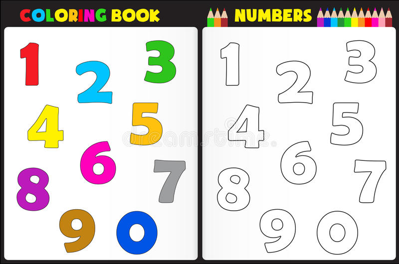 Coloring book numbers royalty free illustration