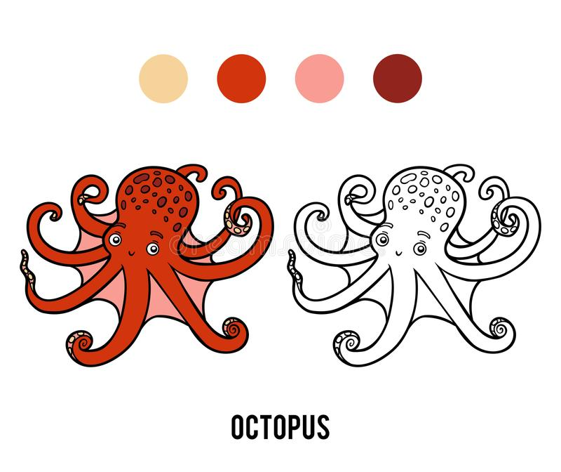 Coloring book, Octopus stock illustration
