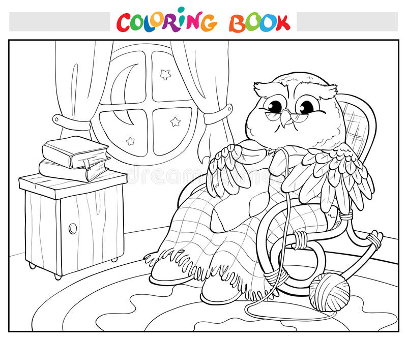 Coloring book. Old owl in chair knitting a sock. vector illustration