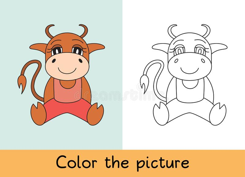 Coloring book. Ox, bull, cow and calf. Cartoon animall. Kids game. Color picture. Learning by playing. Task for children.  vector illustration