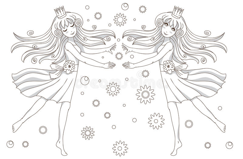 Download Coloring Book Page   2 Princesses Stock Illustration - Image: 23027317