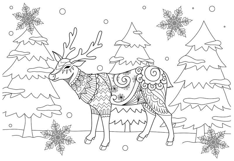 Coloring Book page for adult and kid. Colouring picture of zentangle stylized chiristmas deer in the winter and beautiful snowflak vector illustration