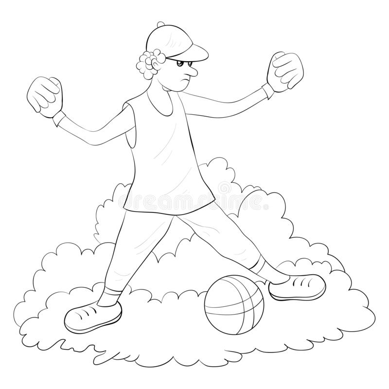 A coloring book,page for adults and children,a cute boy image for relaxing. Black and white image for relaxing activity.A cartoon boy with ball on the field royalty free illustration