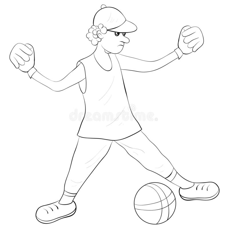 A coloring book,page for adults and children,a cute boy image for relaxing. Black and white image for relaxing activity.A cartoon boy with ball on the field stock illustration