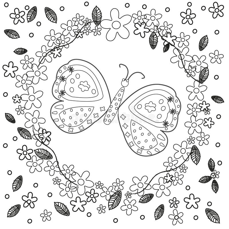 Coloring book page for adults line art creation, flowers and butterfly, relax and meditation vector. Background vector illustration