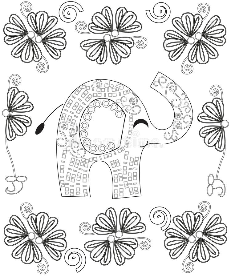 Coloring Book Page For Adults Line Art Creation, Hand Drawn Elephant ...