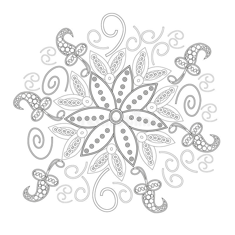 Coloring book page for adults line art creation, heart and flowers, relax and meditation. Vector royalty free illustration