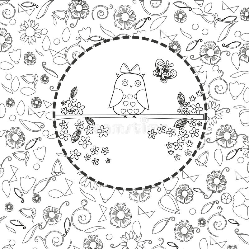 Coloring book page for adults line art creation, owls and flowers, relax and meditation. Vector royalty free illustration