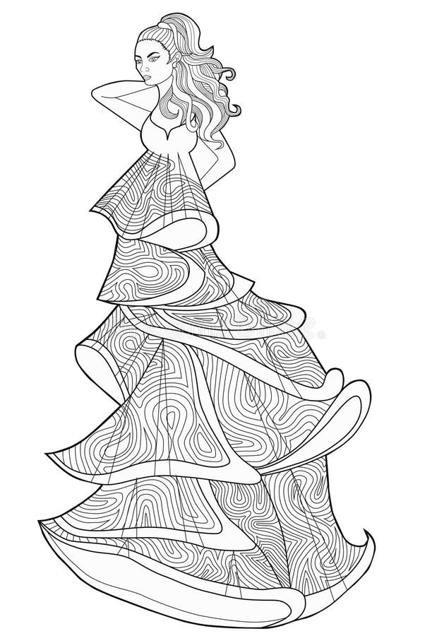 Download Coloring Book Page For Adults Woman In A Long Dress Fashion Stock