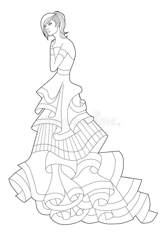 vector fashion design mannequin sketch coloring page