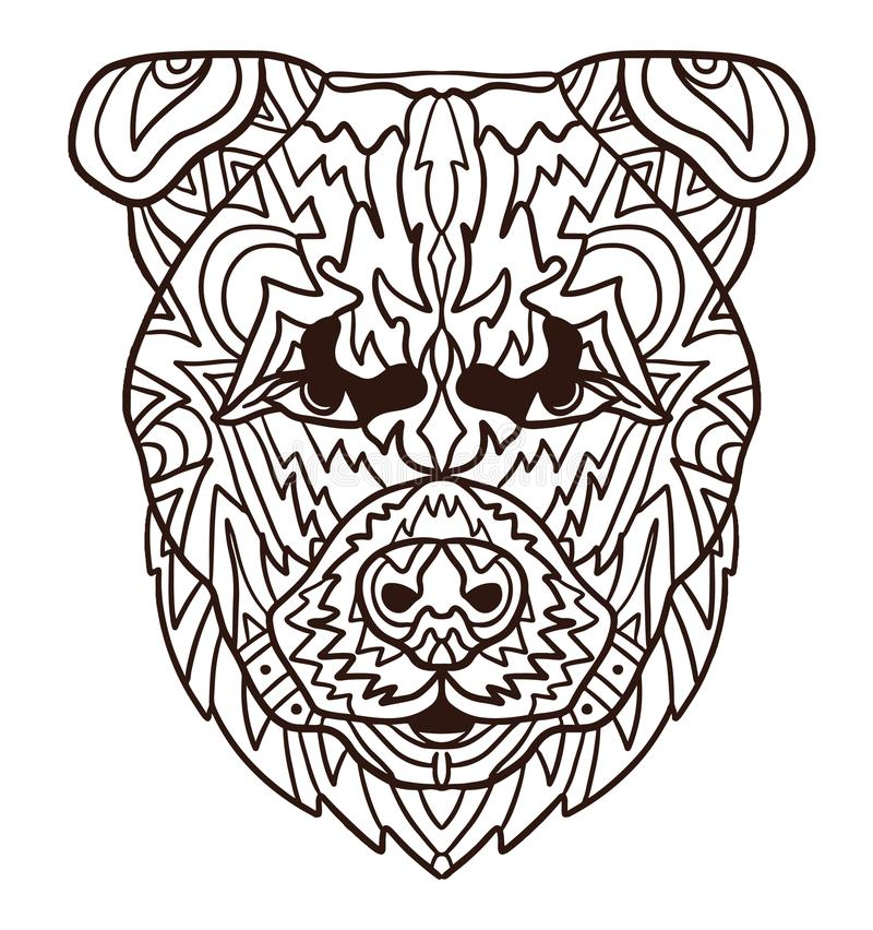Coloring book page of angry puppy dog. Monochrome and colored samples. Freehand sketch drawing for adult antistress vector illustration