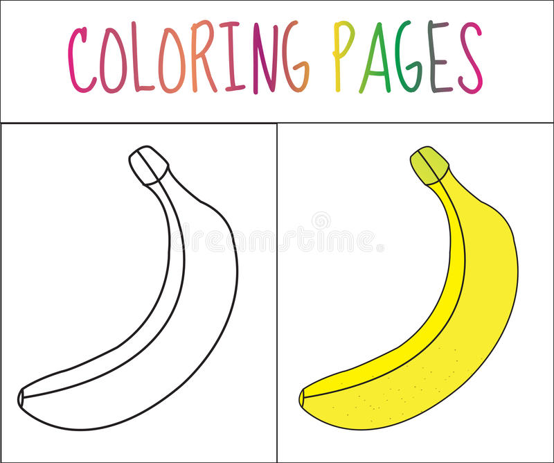Coloring book page. Banana. Sketch and color version. Coloring for kids. Vector illustration.  royalty free illustration