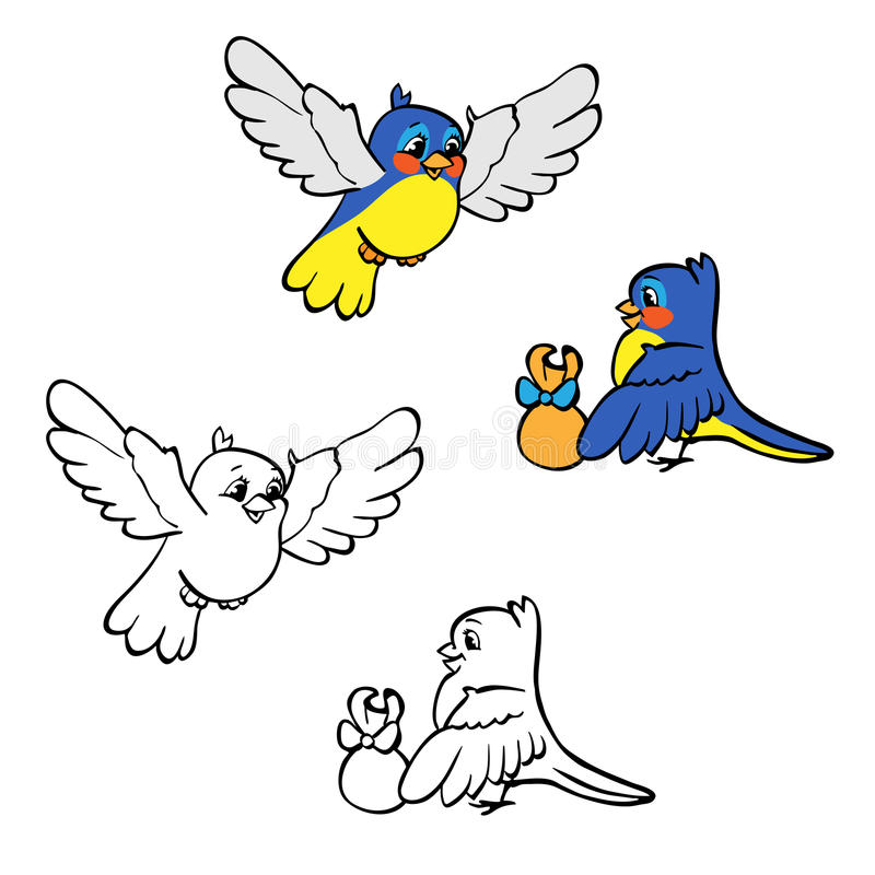 Coloring book or page. Birds with gift. vector illustration