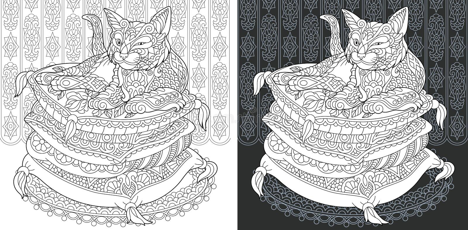 Coloring book page with cat royalty free stock photography