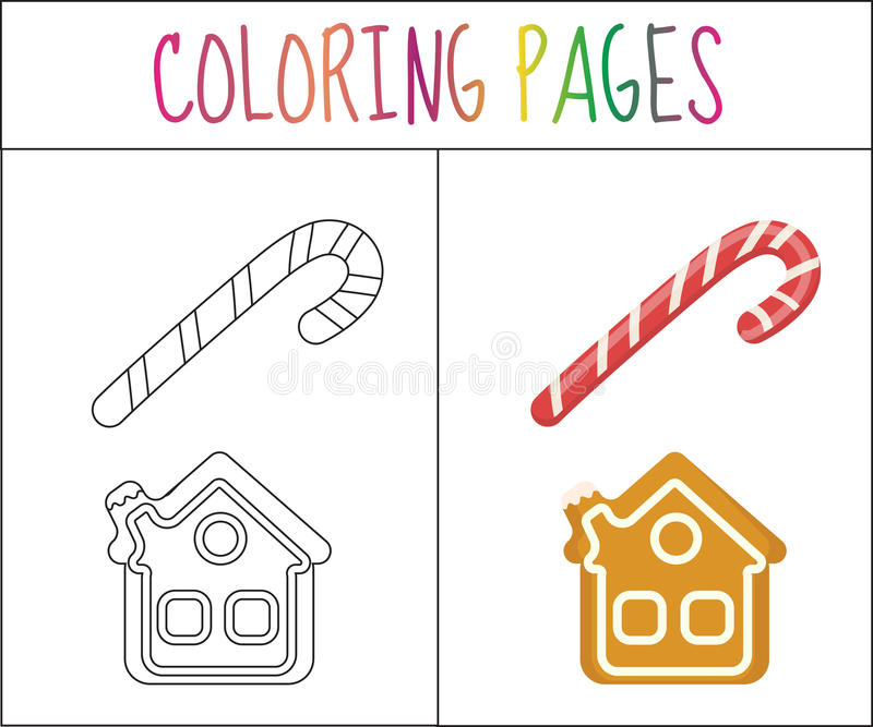 Coloring Book Page Christmas Candy Cane And Gingerbread House Sketch Color Version For Kids
