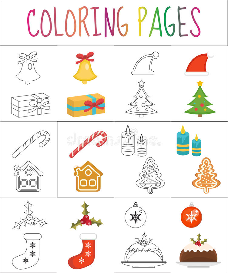 Coloring book page. Christmas set. Sketch and color version. for kids. Vector illustration royalty free illustration