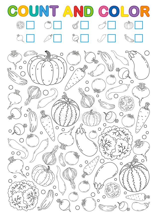 Coloring Book Page. Count And Color. Printable Worksheet For Kindergarten  And Preschool. Exercises For Study Numbers. Bright Veget Stock Vector -  Illustration Of Cabbage, Learn: 124319215