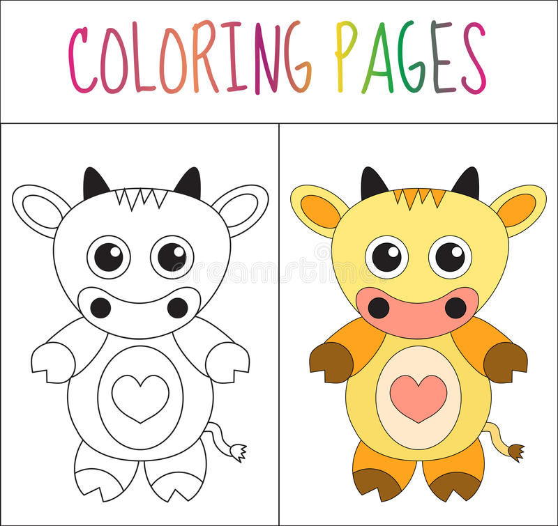 Coloring book page. Cow. Sketch and color version. Coloring for kids. Vector illustration stock illustration