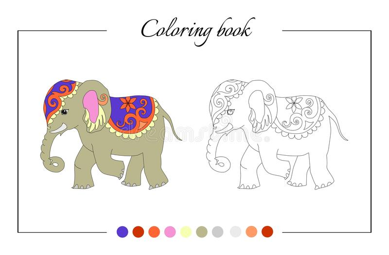 Coloring book page with cute elephant. Cartoon vector illustration for children education royalty free illustration