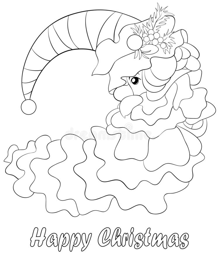 A coloring book,page a cute moon with Christmas hat and decoration balls,fruits and leaves for adults and children,. A moon with Christmas hat with decoration royalty free illustration