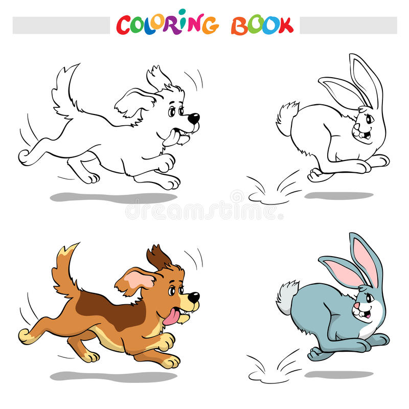 Coloring book or page. Dog chasing a rabbit. stock illustration