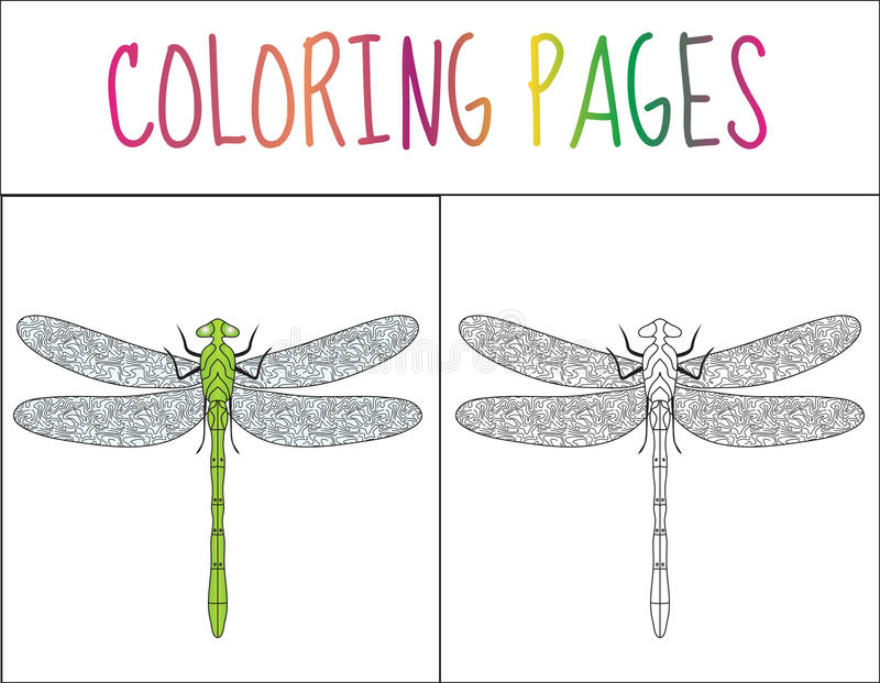 Coloring book page. Dragonfly. Sketch and color version. Coloring for kids. Vector illustration royalty free illustration