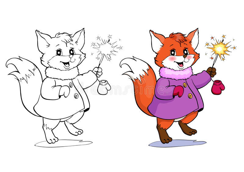 Coloring book or page. Fox in a coat. royalty free illustration