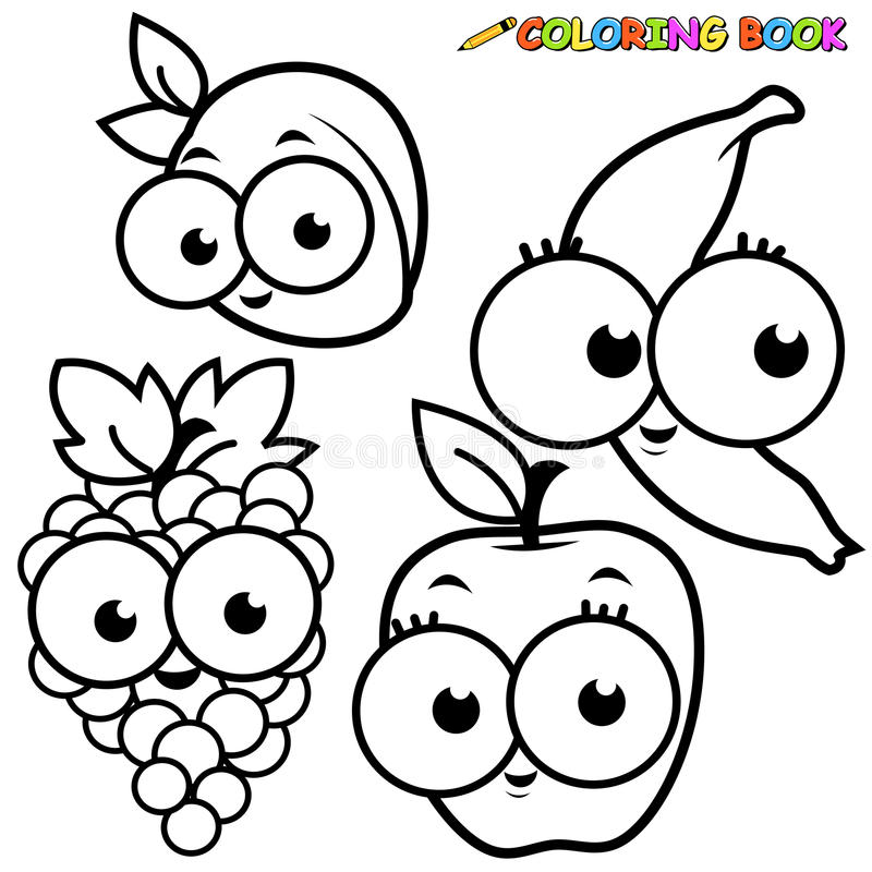 Coloring Book Page Fruits Set Stock Vector - Illustration of apple ...