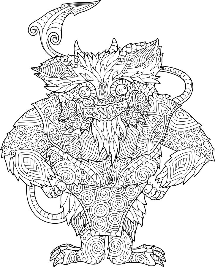 Coloring book page with funny cartoon monster vector illustration