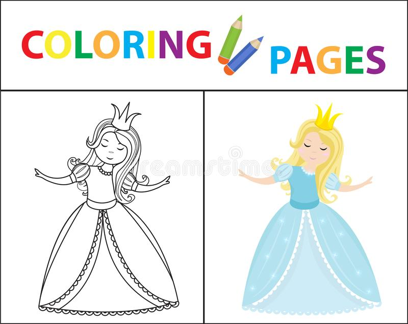 Coloring book page for kids. Cinderella little princess. Sketch outline and color version. Childrens education. Vector royalty free illustration