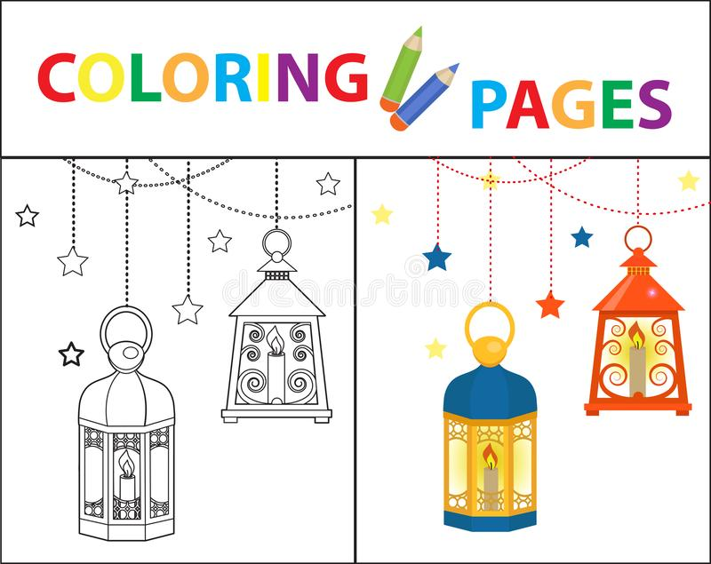 Coloring Book Page For Kids Ramadan Kareem Set Sketch Outline And Color Version Childrens Education Vector Stock Vector Illustration Of Drawing Colorless 147648762