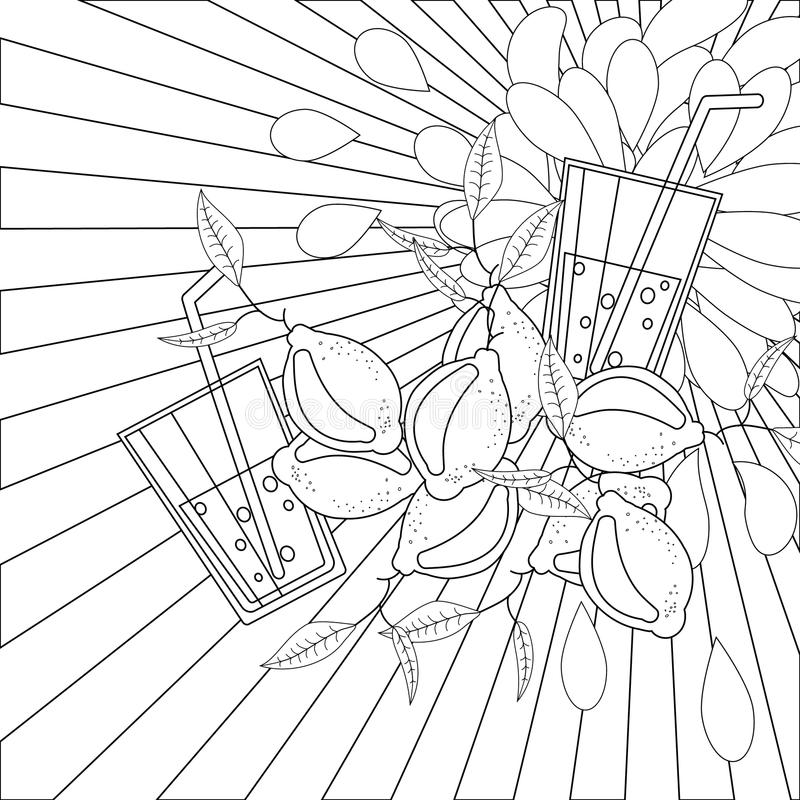 Line Art Juice : Coloring book page lemons and juice stock vector