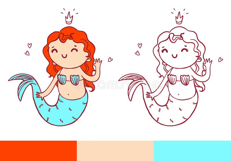 Coloring book page with little mermaid. Vector printable temlate with color examples.  vector illustration