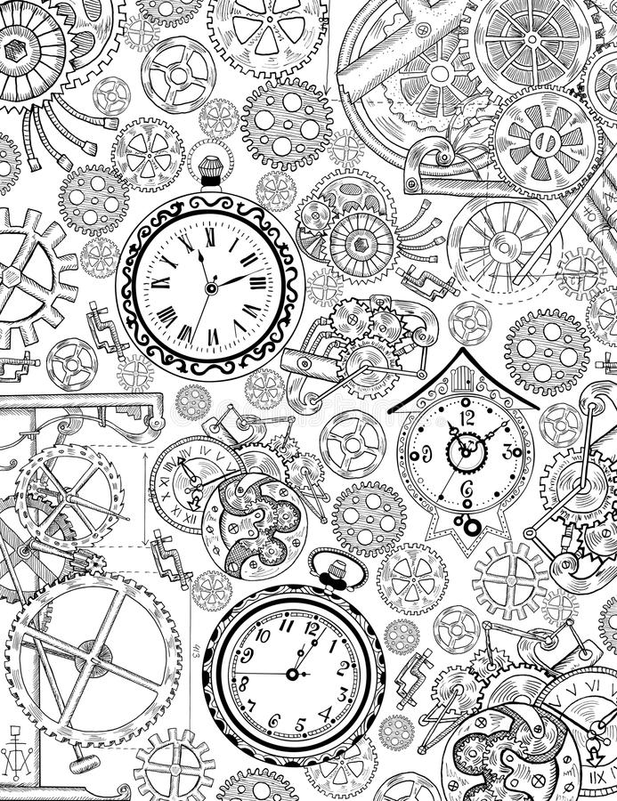 Coloring book page with mechanical details and old clocks. Coloring book page with mechanical details, cogs, gears and old clocks. Black and white background vector illustration