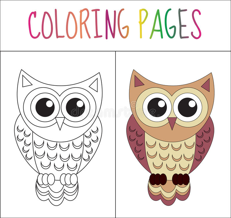 Coloring Book Page. Owl. Sketch And Color Version. Coloring For Kids ...
