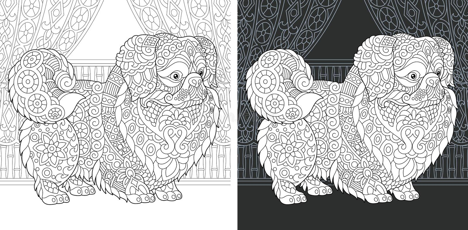 Coloring book page with pekingese dog royalty free stock images